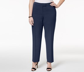 Anne Klein Women's Plus Size Straight-Leg Pants, Navy