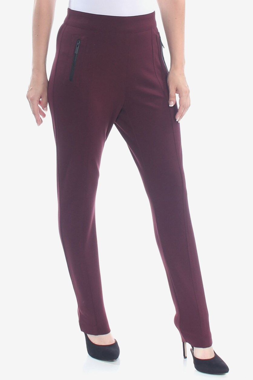 Women's Skinny Pants, Burgundy Purple