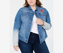 Women's Plus Size Graphic Print Denim Jacket, Blue
