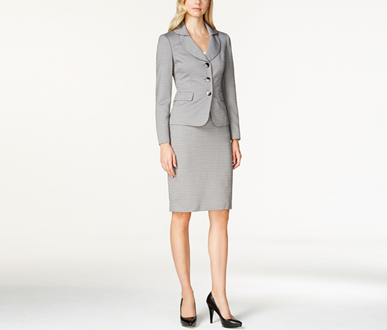 Le Suit Women's Shawl Collar Skirt Suit, Grey