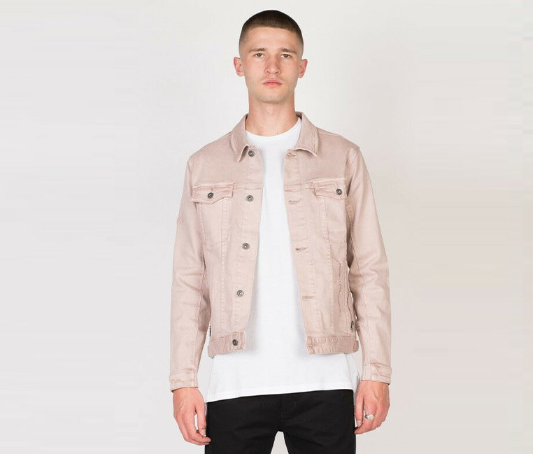 Men's Greaser Denim Jacket, Quartz Pink