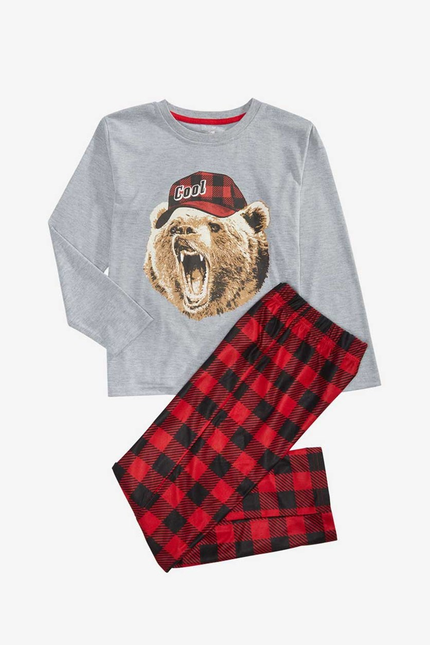 Boys 2-Pc. Bear Print T-Shirt & Pants Pajama Set, Gray/Red