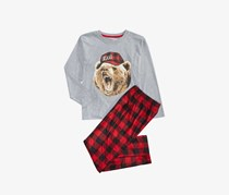 Max & Olivia Little & Big Boys 2-Pc. Bear in Hat Pajamas, Gray/Red