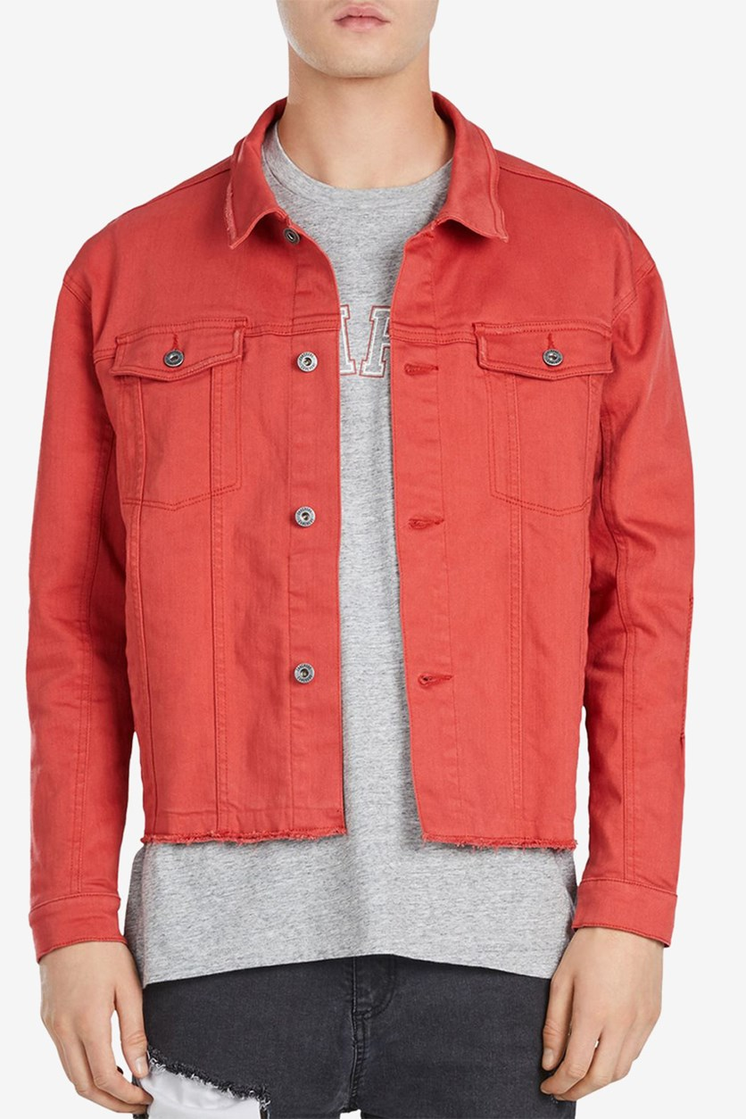 Men's Snitch Slim Fit Denim Jacket, Red