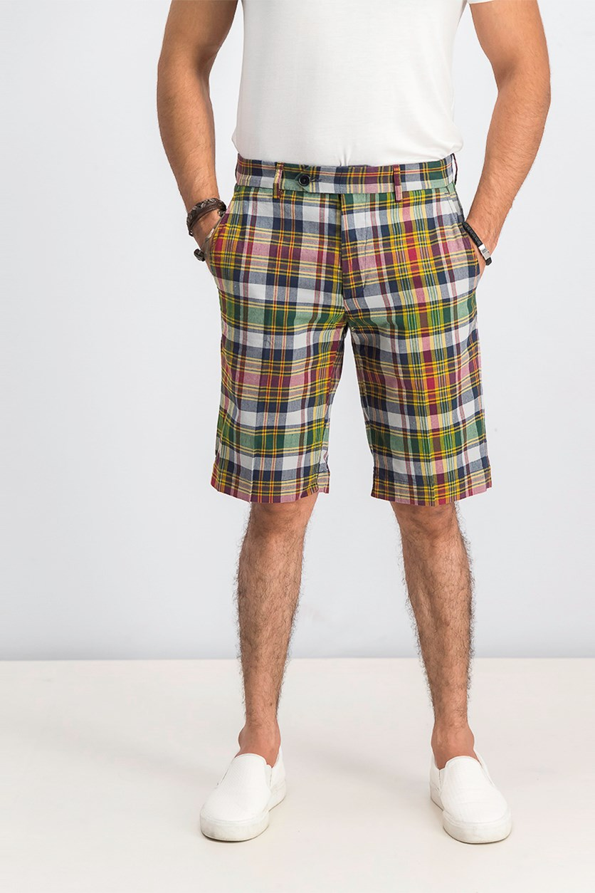 Men's Plaid Shorts, Yellow/Navy