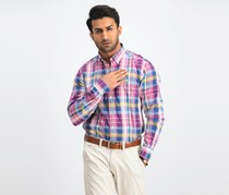 Men's Check Button Down Shirt, Pink Combo