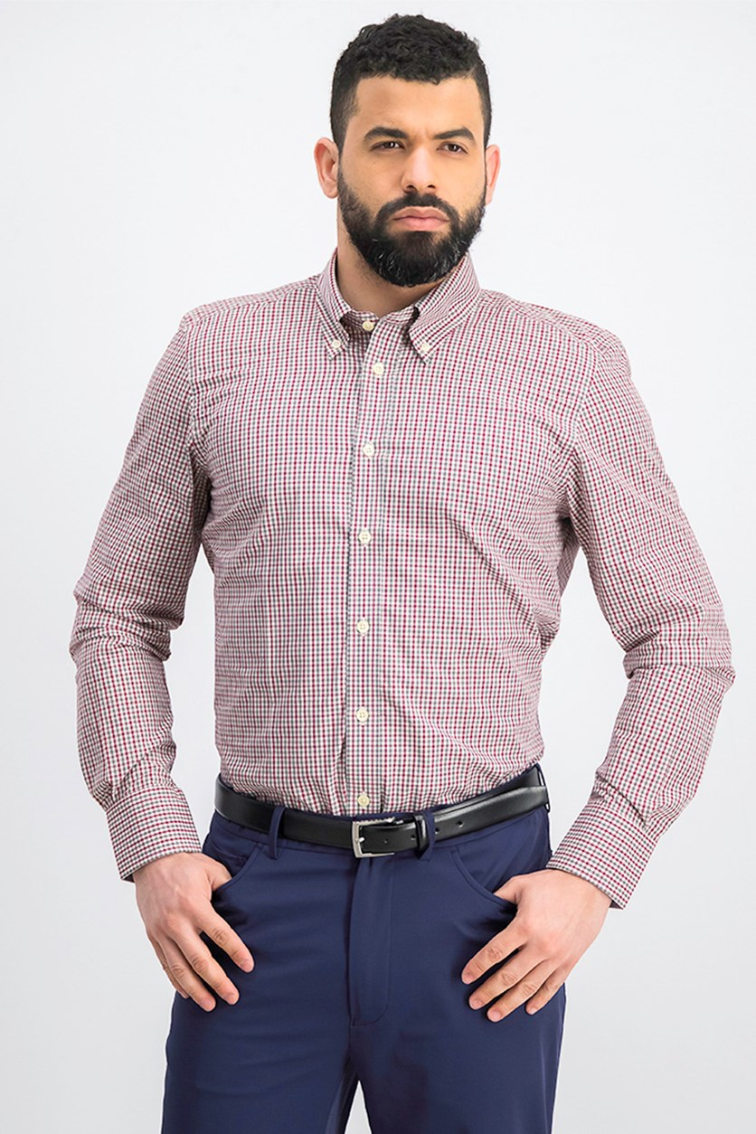 Men's Slim Fit Button Down Shirt, Red/Grey