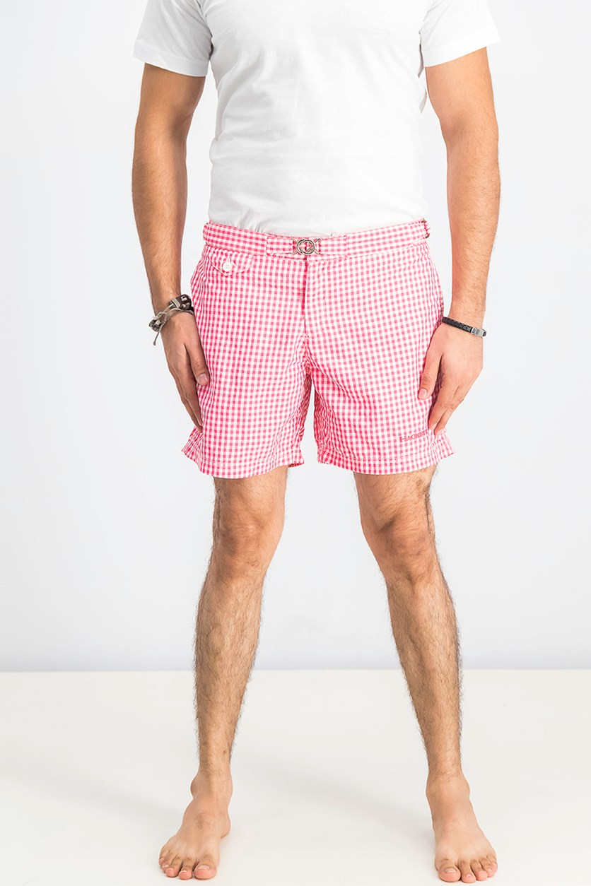 Men's Checkered Board Short, Pink/White