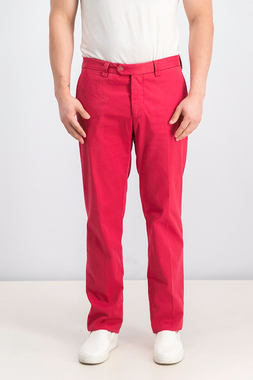 Men's Bedford Cord Chino Pants, Dark Red