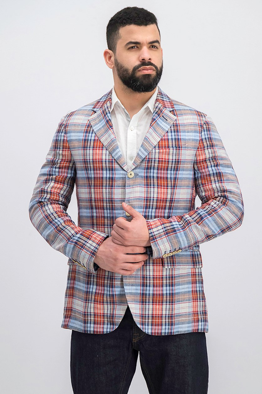Men's Linen Check Jacket, Blue/Rust Combo