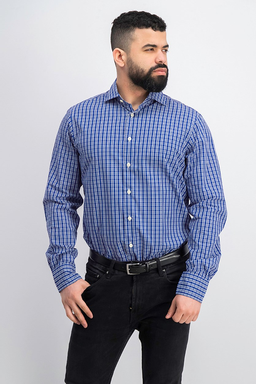 Men's Check Poplin Shirt, Blue