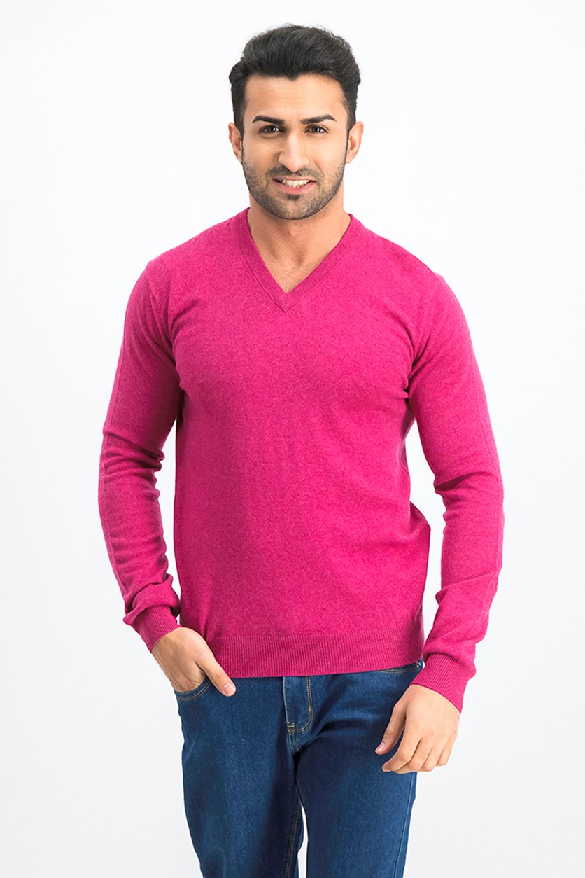 Men's V-Neck Sweater, Fuchsia