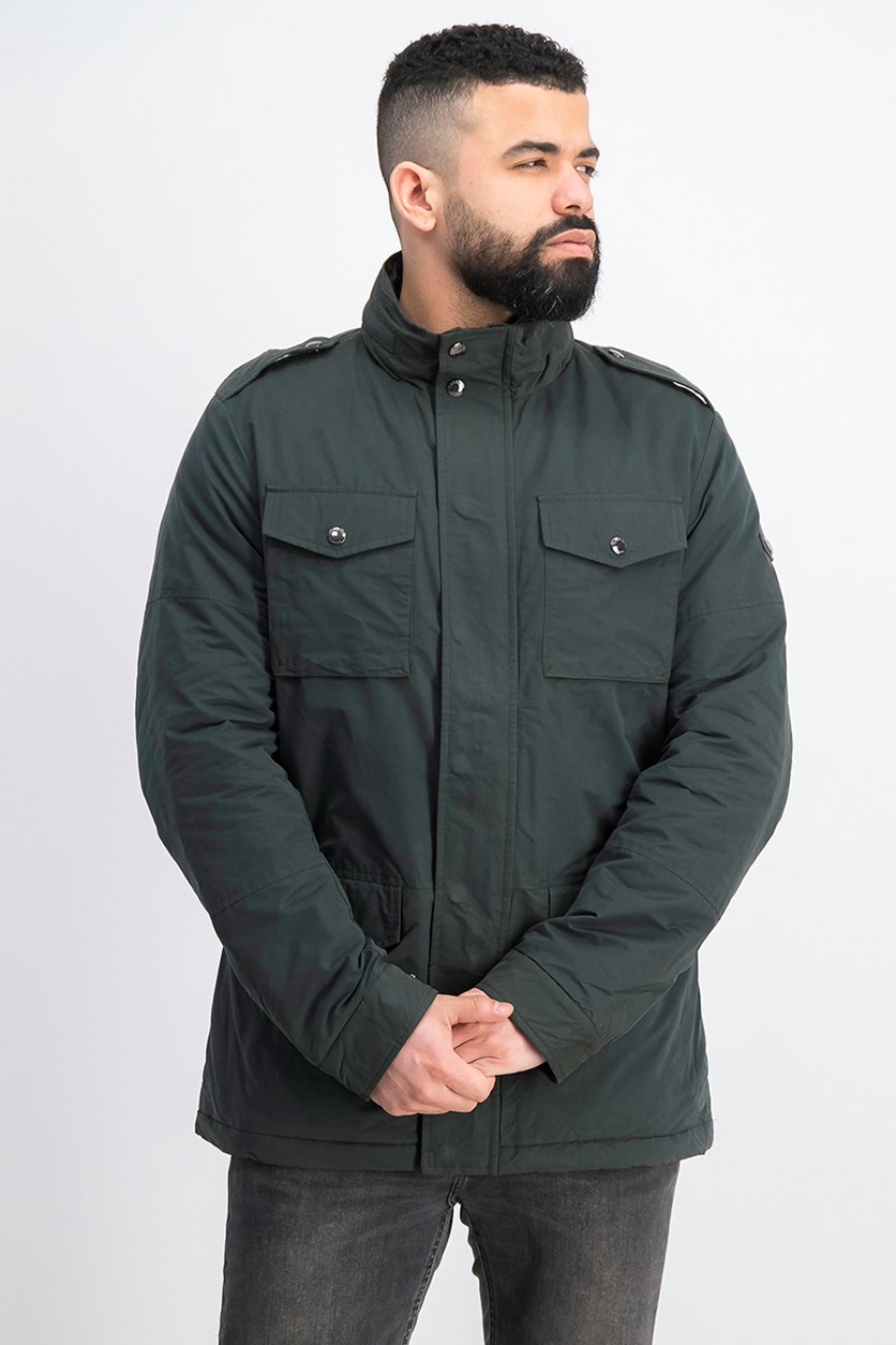 Men's Hooded Jacket, Forest Green/Yellow