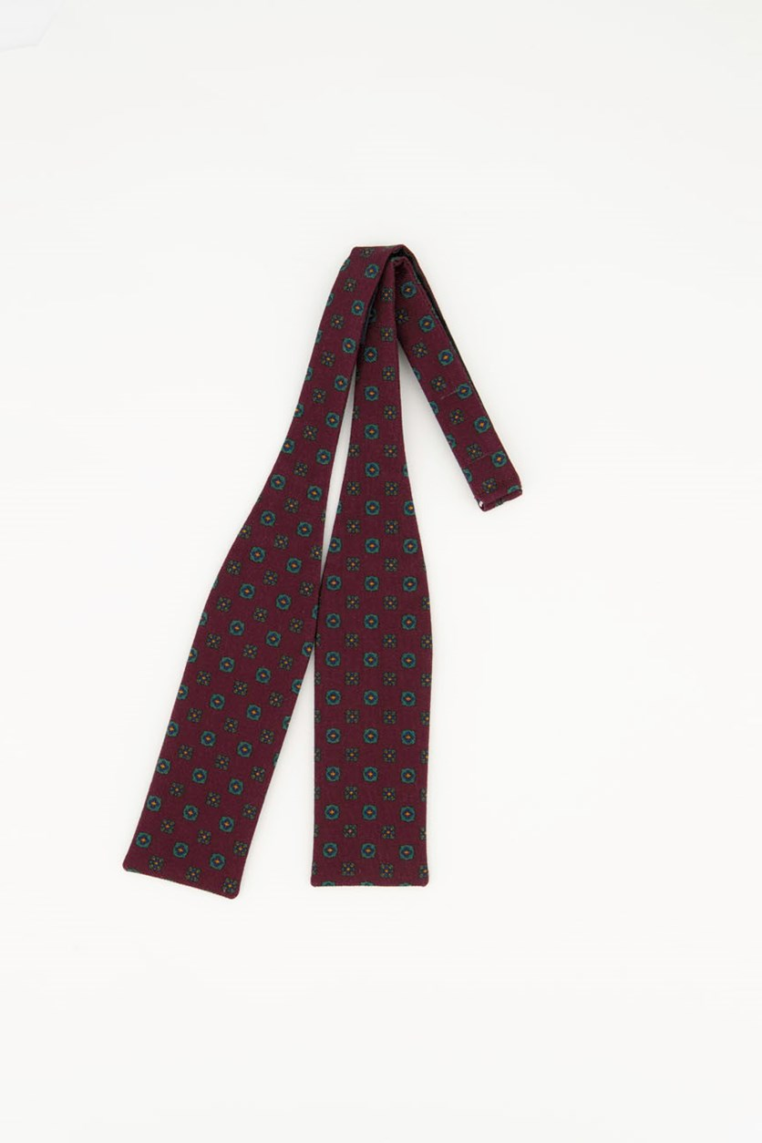 Men's Printed Neat Bow Tie, Plum