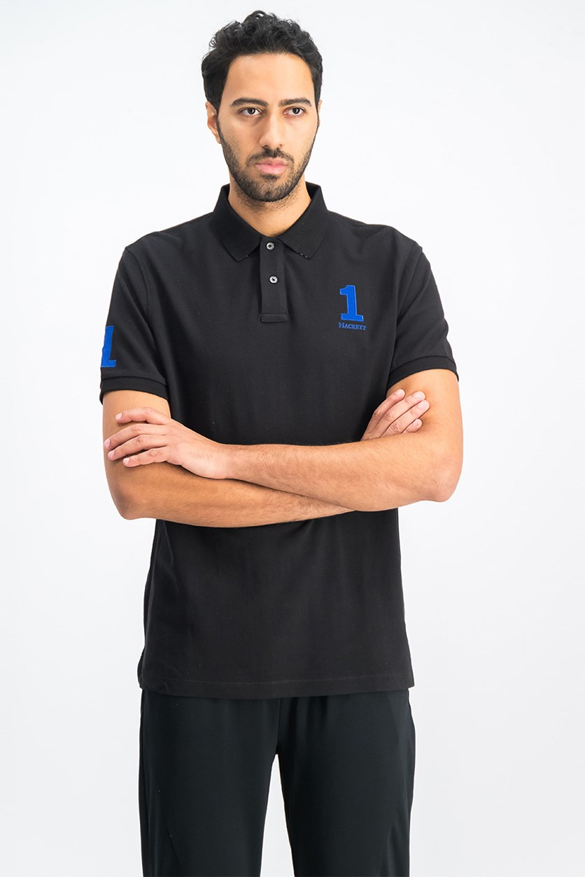 Men's Short Sleeve Classic Fit Polo Shirt, Black