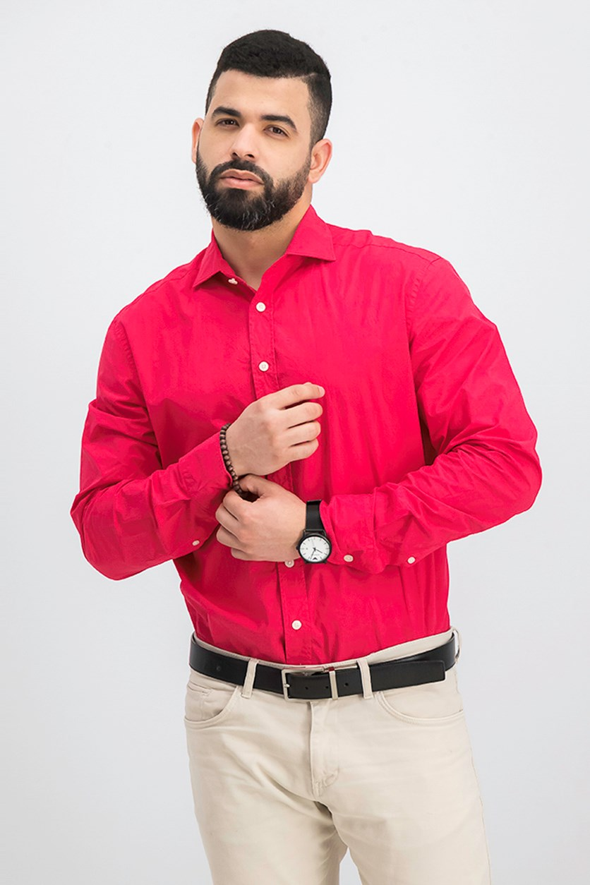 Men's Slim Fit Long Sleeve Casual Shirt, Red