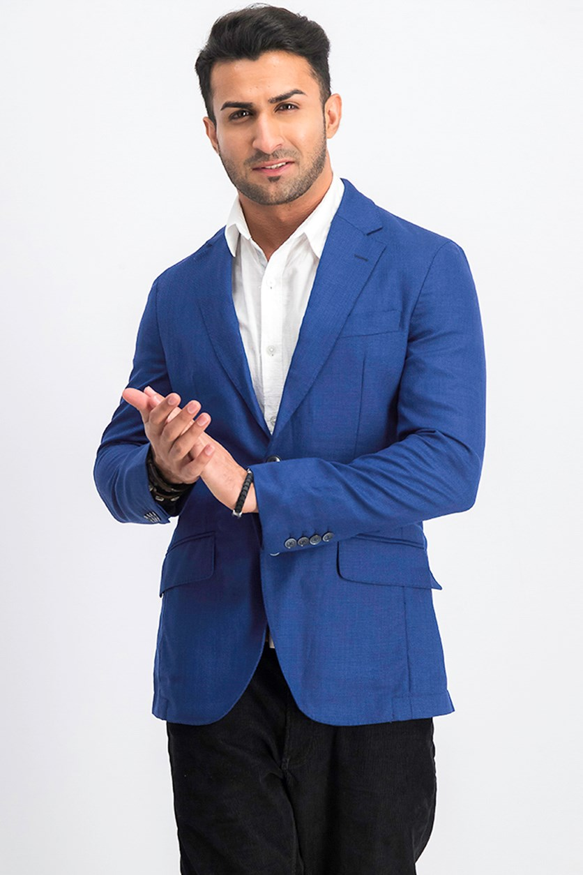 Men's Textured Plain Blazer, Blue