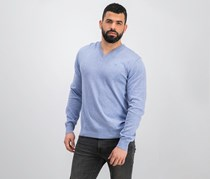Men's Cotton Silk V-Neck Sweater, Light Blue