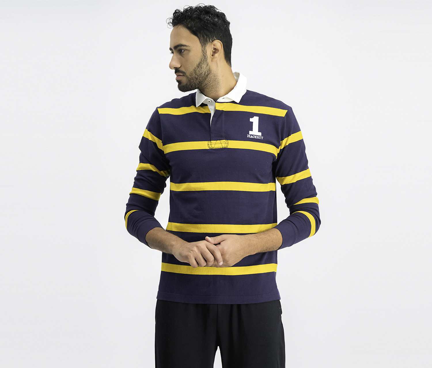 Men's Classic Fit Polo Shirt, Navy/Gold