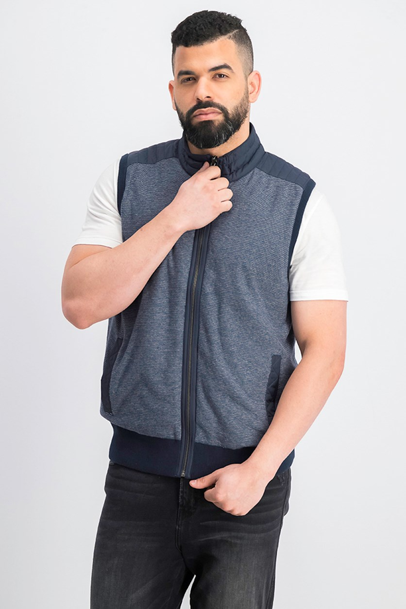 Hacket Men's Knit hybrid Gillet, Navy Combo