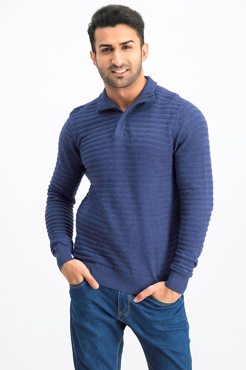 Men's Garter Stripe Cotton Half Zip Knitwear Sweater, Harbour Navy