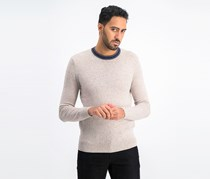 Men's Tipped Crew Neck Long Sleeve Sweaters, Light Taupe