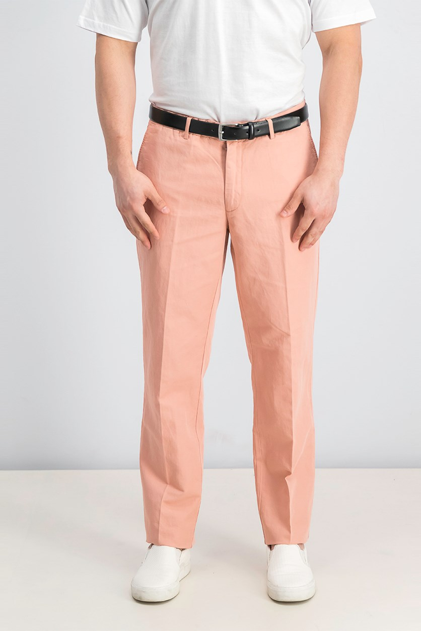Men's Belt Loops Chino Pants, Peach