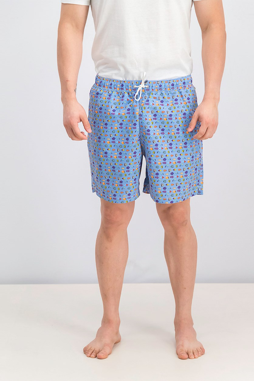 Men's Drawstring Board Shorts, Blue Combo