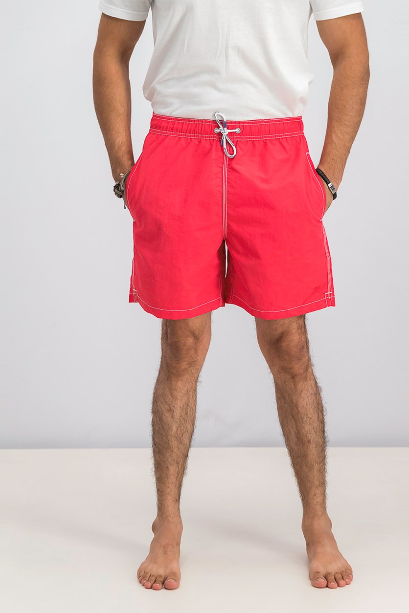 Men's Solid Volley Swim Short, Bright Red
