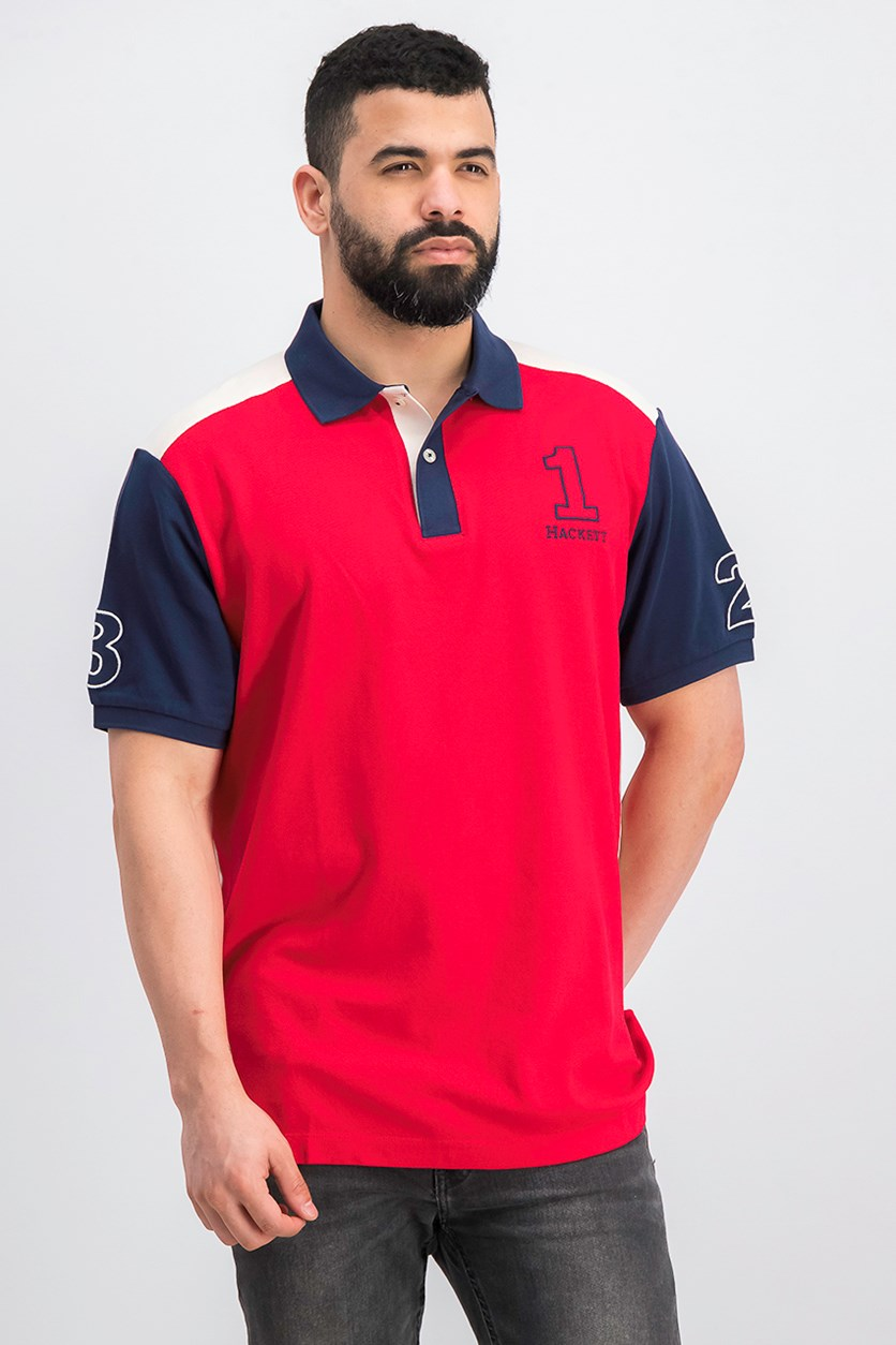 Men's Colorblock Polo Shirt, Red Combo