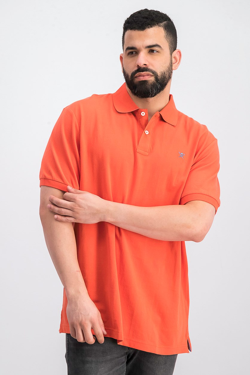 Men's Short Sleeve Slim Fit Polo Shirt, Orange/Red