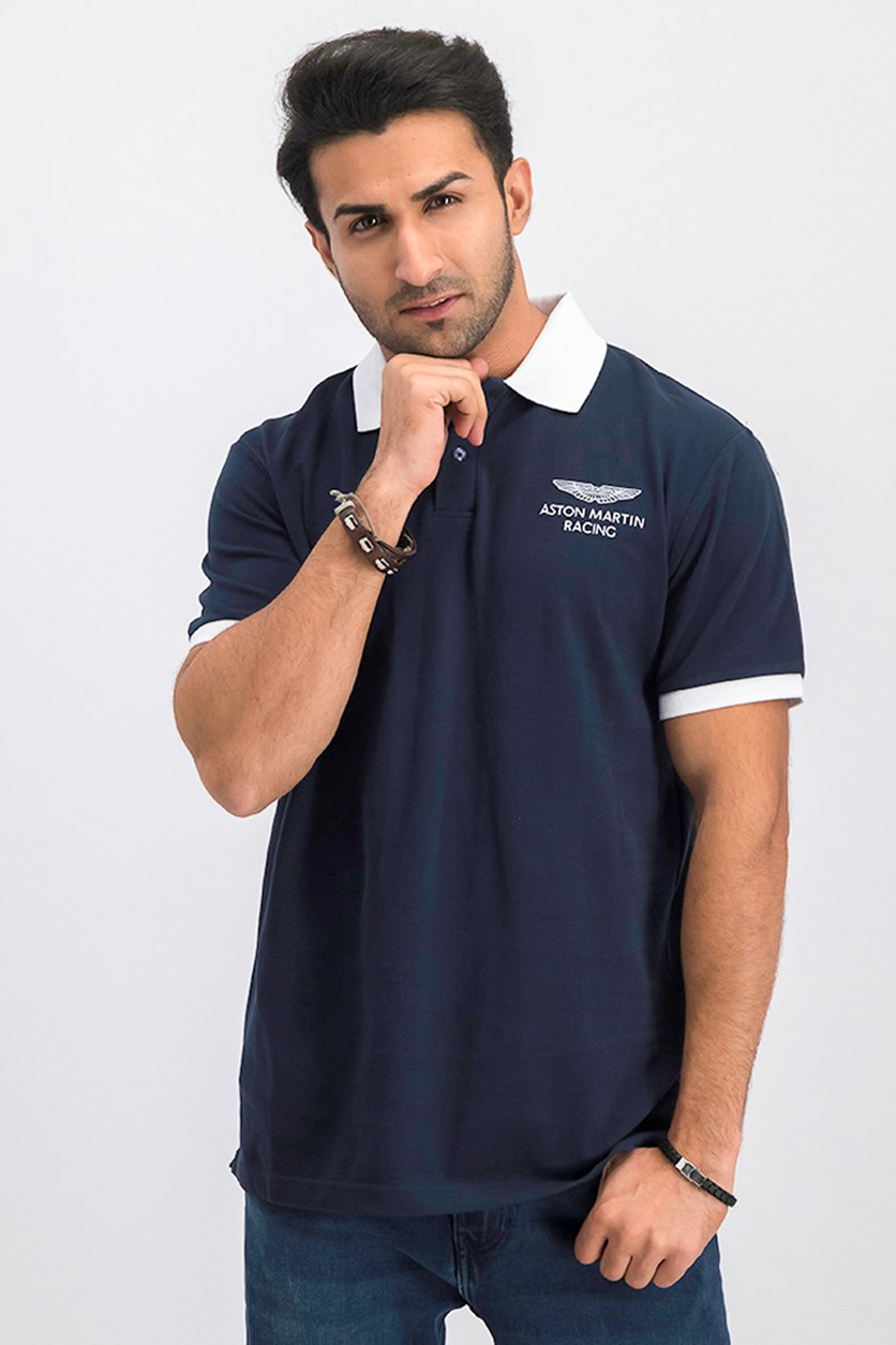 Men's Short Sleeve Graphic Print Polo, Navy