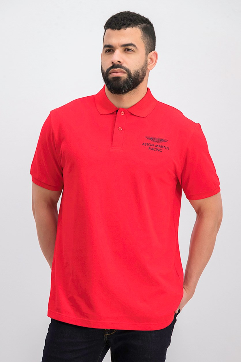Men's Short Sleeve Graphic Print Polo Shirt, Red