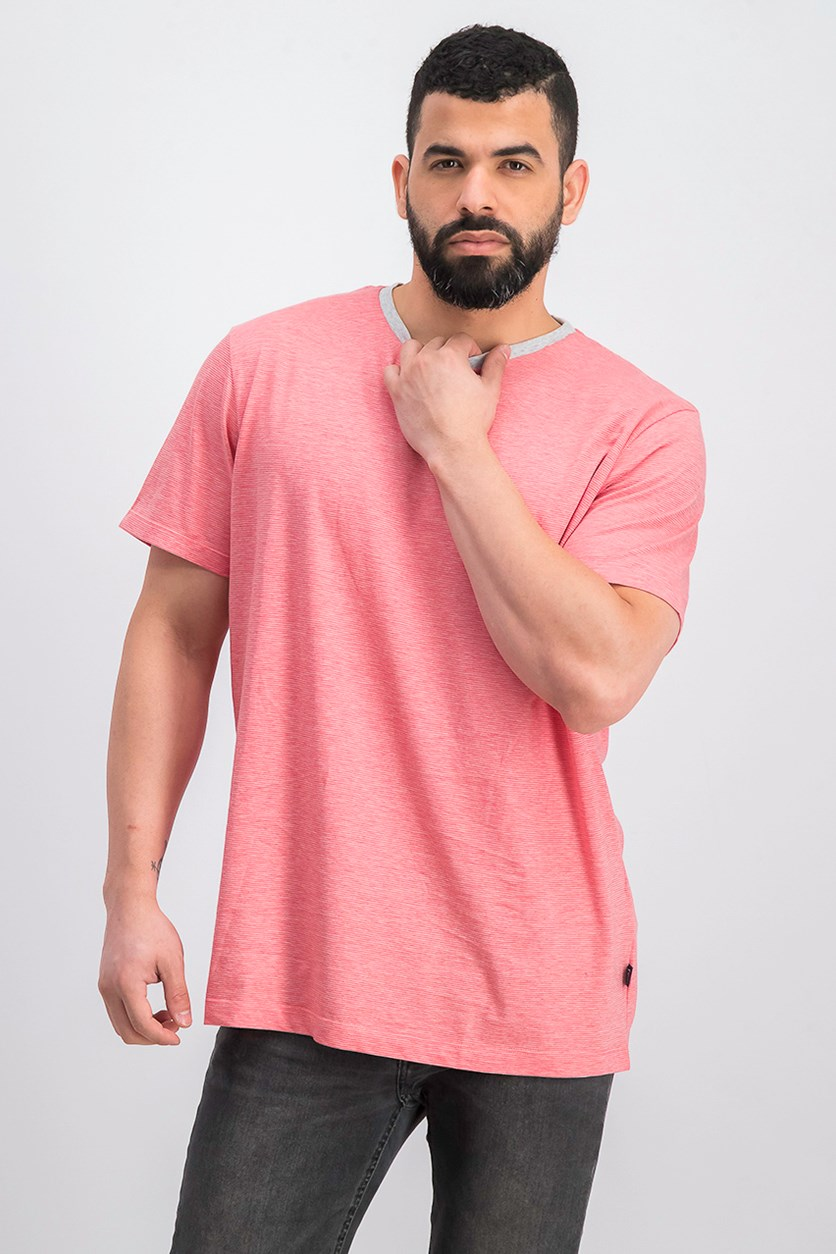 Men's Fine Stripe T-Shirt, CrimSon