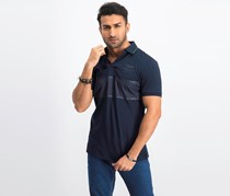 Hackett Men's Tonal Panel Short-Sleeve Polo Shirt, Navy
