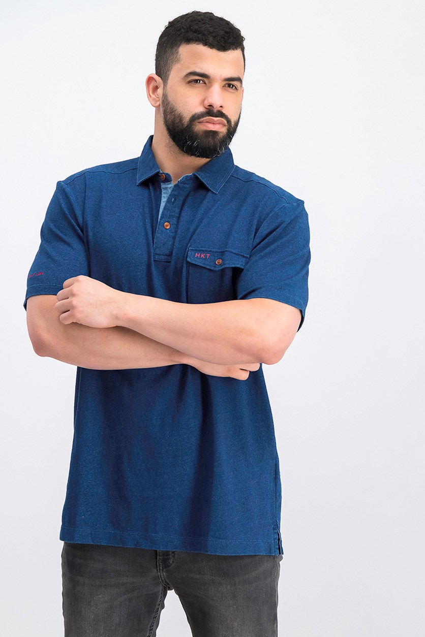 Men's Short Sleeve Slim Fit Polo Shirt, Indigo