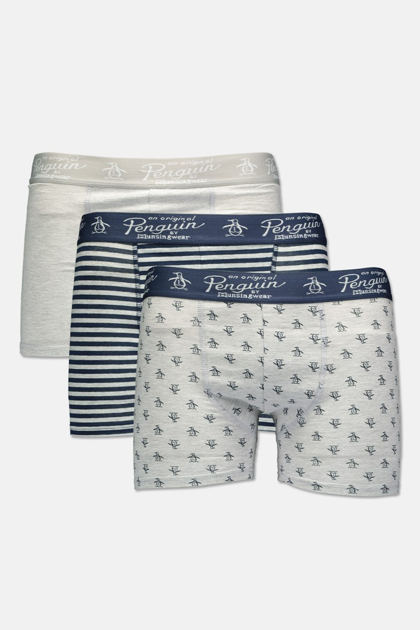 Men's 3 Pack Trunks, Grey/Navy