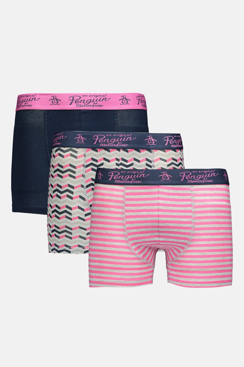 Original Penquin Men's 3 Pack Trunks, Grey/Pink/Navy