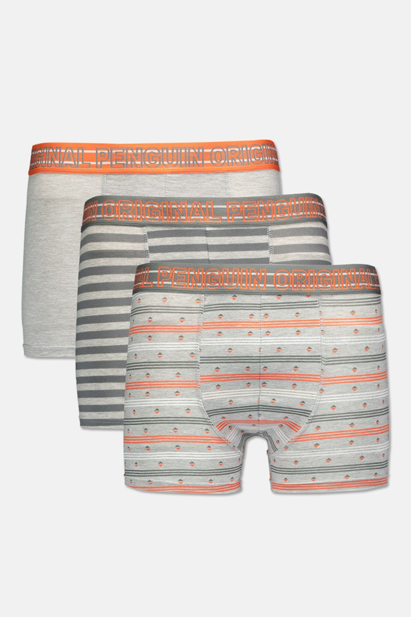 Men's 3 Pack Trunks, Grey/Orange