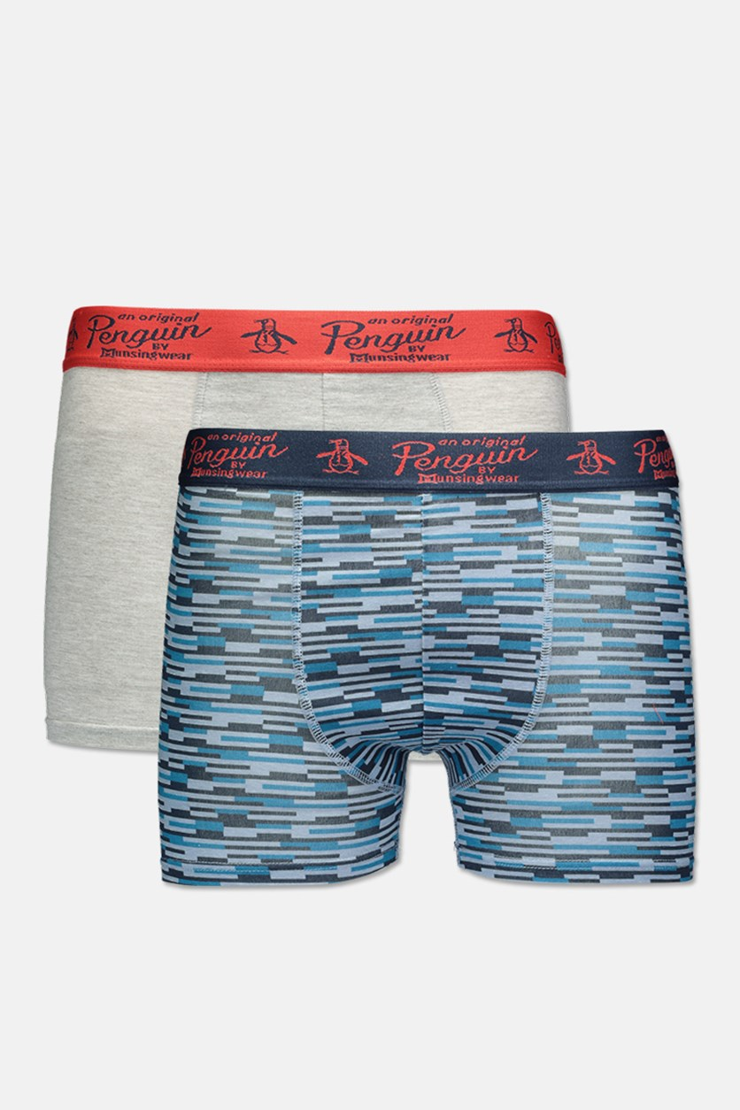 Original Penquin Men's 2 Pack Trunks, Grey/Blue