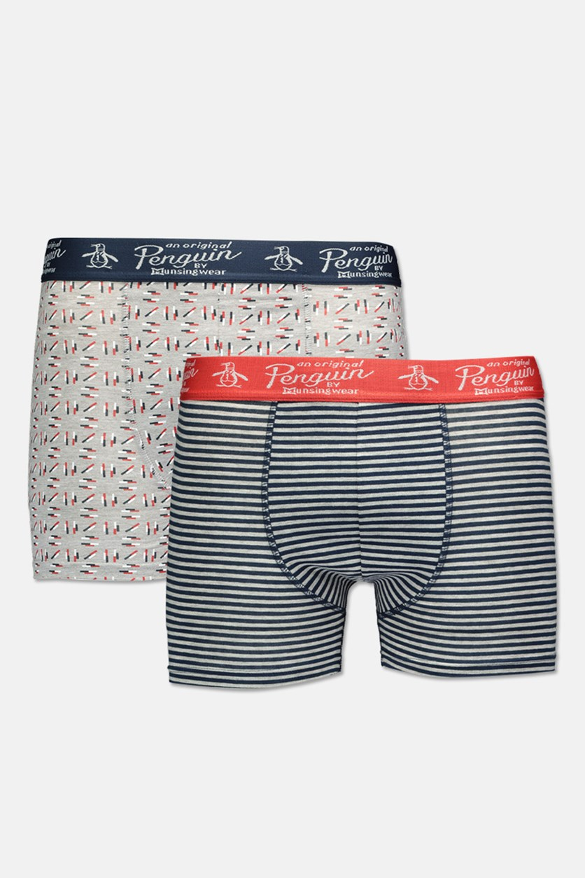 Original Penquin Men's 2 Pack Trunks, Grey/Navy
