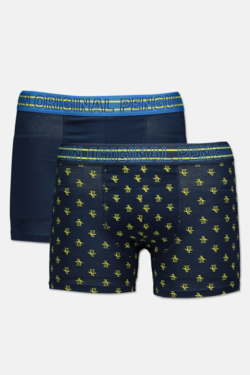 Men's 2 Pack Trunks, Navy/Lime