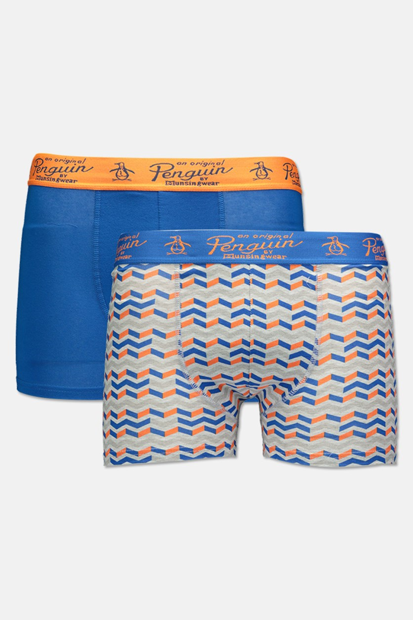 Men's 2 Pack Trunks, Blue/Orange