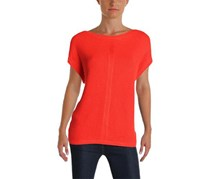 Ralph Lauren Women's Knit Ribbed Trim Pullover Sweater, Red