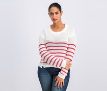 Rd Style Women's Striped Knit Sweater, Off White/Red