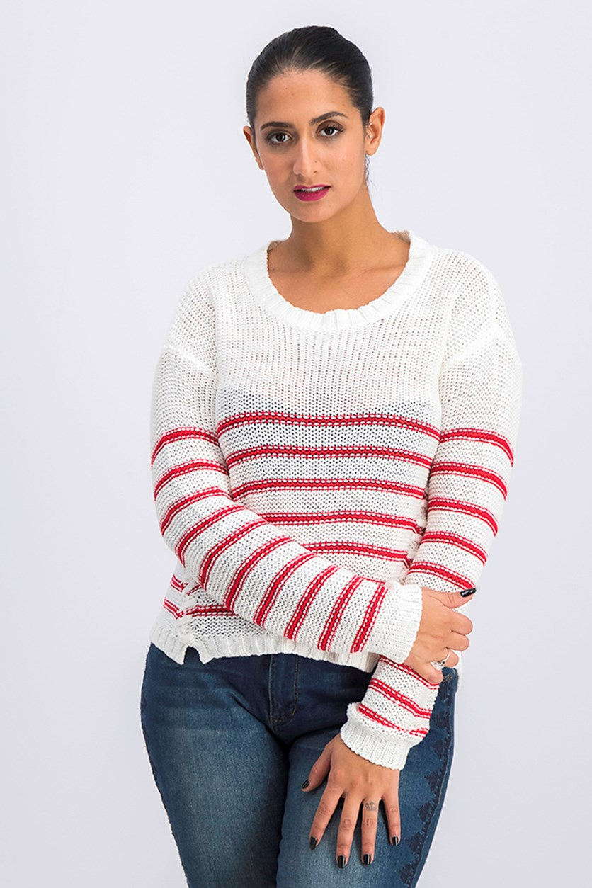 Women's Striped Knit Sweater, Off White/Red