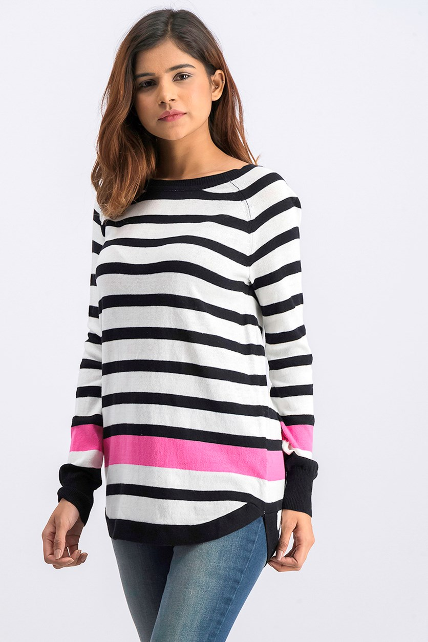 Women's Stripe Knit Sweater, White/Black/Pink