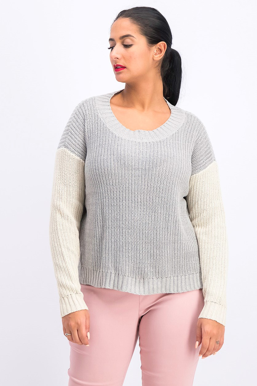 Women's Pullover Sweater, Cream/Gray
