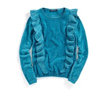 Nowadays Girl's Ruffle-Front Sweater, Green