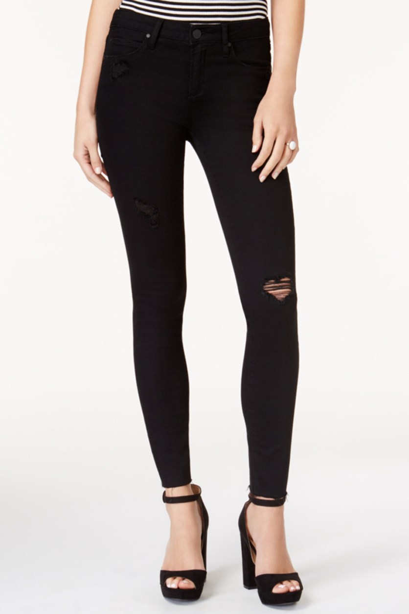 Articles of Society Ankle Skinny Ripped Jeans, Black